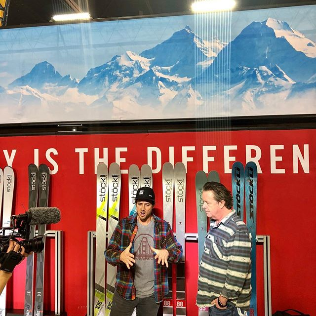 @jonnymoseley giving the rundown at the booth on the new Stöckli skis for 2018/2019… Consensus is they are bad ass !#stöckli #myseason #squawvalley #peterglenn #stormriders #swissmade