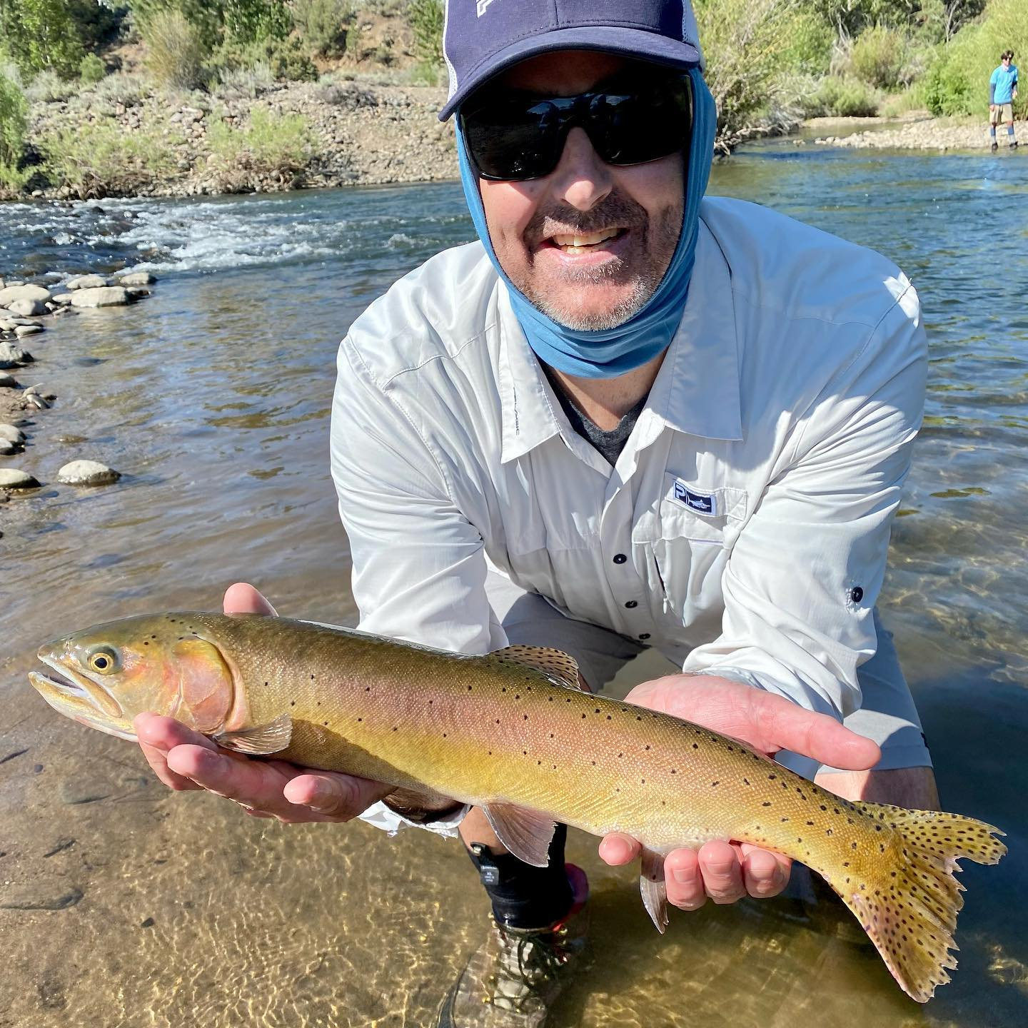 Fishing is still really good in the AM's . Water temps are hanging in there on our local rivers and streams . That being said we are only running AM 1/2 days as to not stress the fish as temps rise in the afternoon and evening. Please carry a thermometer with you and continue to check the water temps . When it hits 66 degrees , time to call it a day and let em rest …#scottflyrods #fishpond #catchandrelease #fishitwell #alpineflyfishing #alpinecounty #fishca #lahontancutthroattrout #getoutside #checkthetemperature